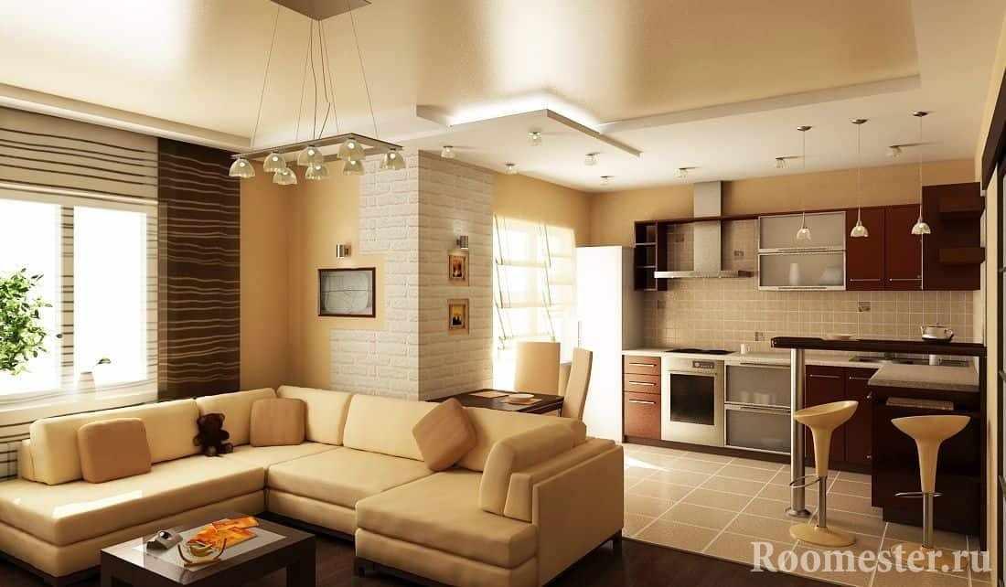Кухня+гостиная в помещении квадратной формы