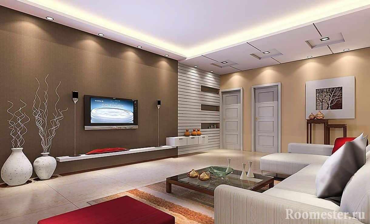 Просторная гостиная комната квадратной формы в стиле хай-тэк