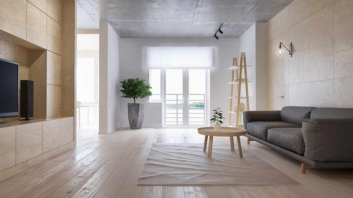 Молочные стены и деревянные панели