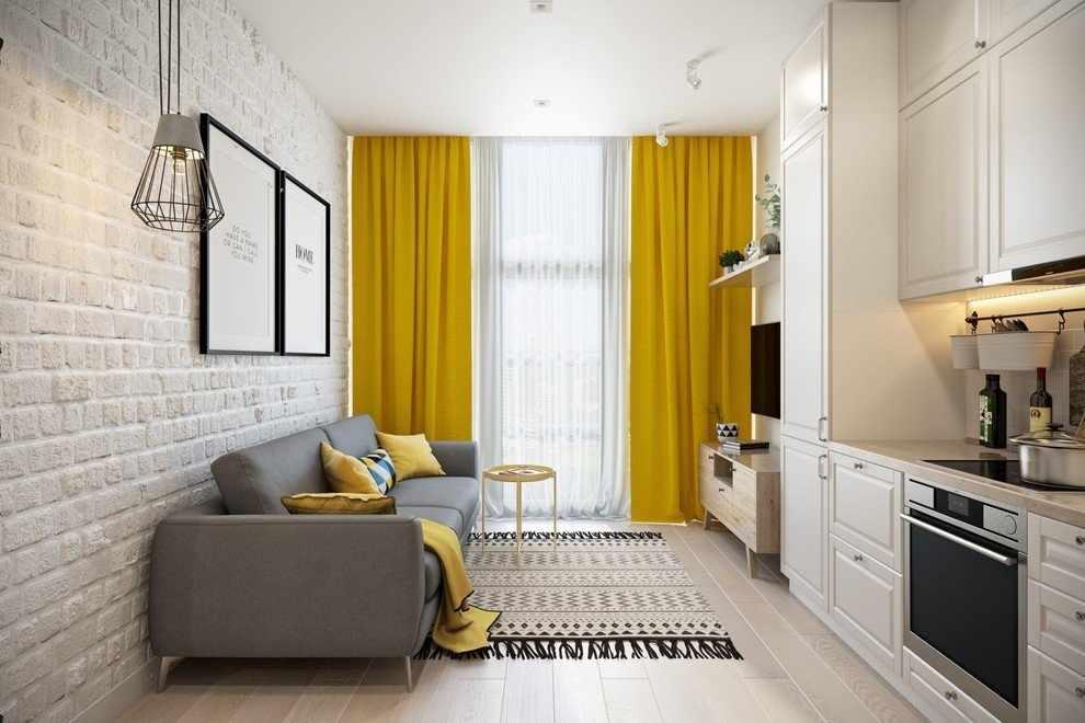 Желтые шторы в светлом интерьере