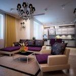 Угловой диван, кресло и столик в гостиной