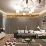Столик с лампой между диванами