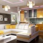 Яркая кухня и диван