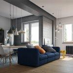 Синий диван в квартире-студии