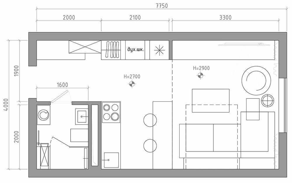Схема квартиры-студии