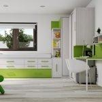 Сочетание зеленого с белым в дизайне квартиры