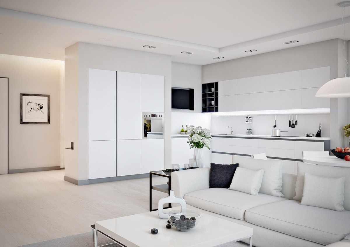 Черная подушка на белом диване