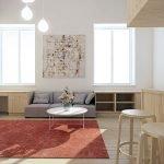 Бежевые и серые тона в интерьере белой гостиной