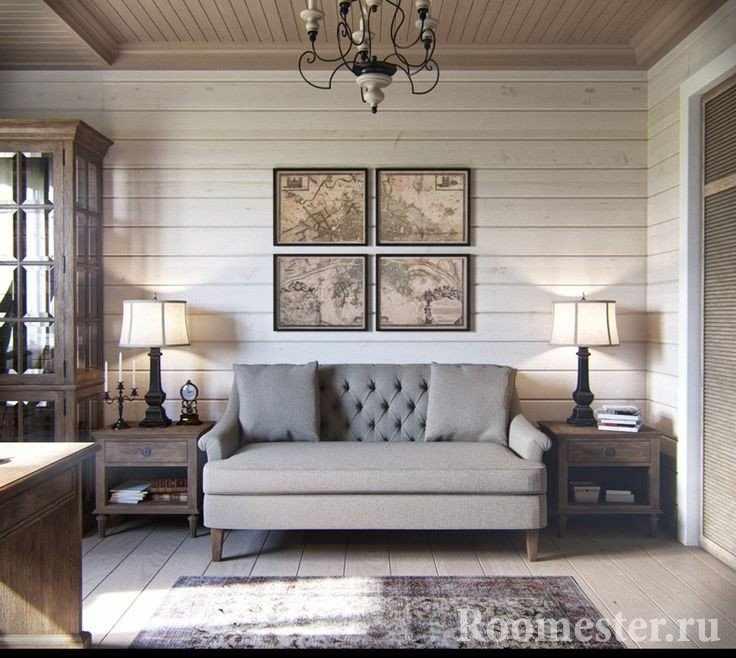 Гостиная в стиле прованс в серых тонах