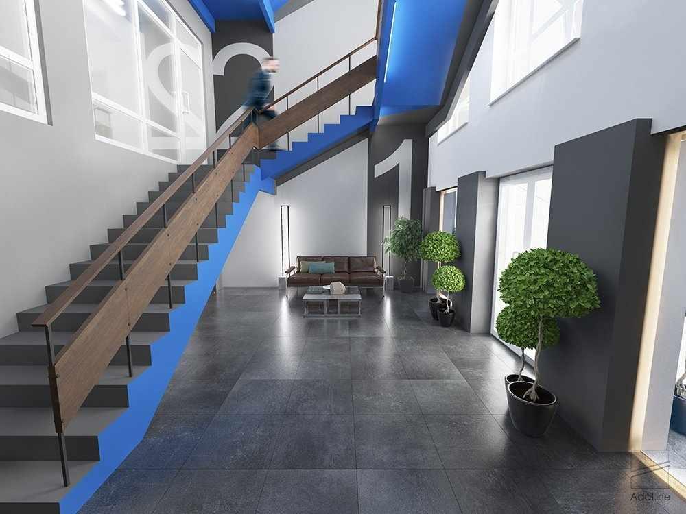 Широкая бетонная лестница на второй этаж