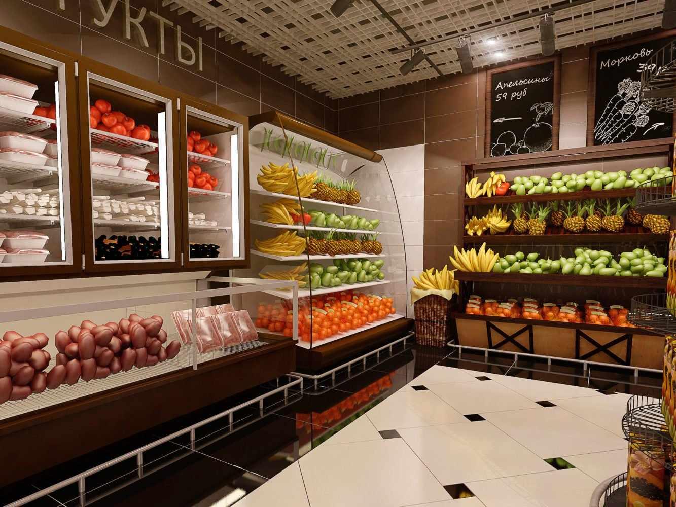 Плитка на стенах и полу продуктового магазина