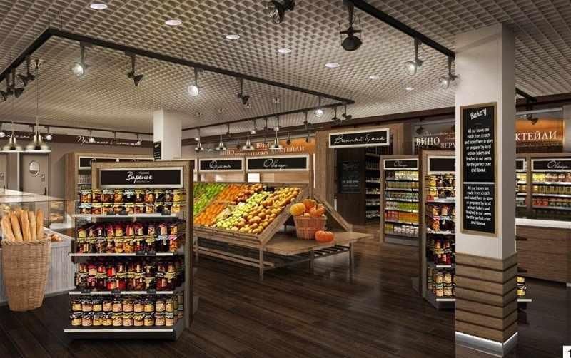 Декор в интерьере продуктового магазина