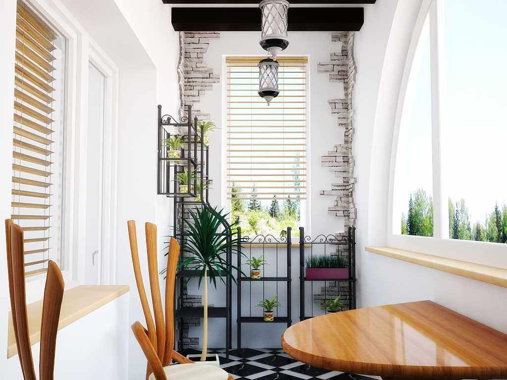 Интересный дизайн маленького балкона с плиткой под камень на стене