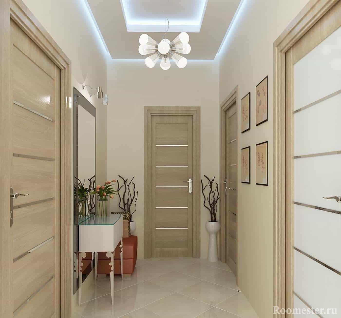 Светлый коридор, сочетание цветов стен и дверей