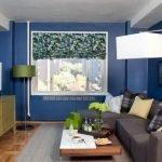 Синие стены в маленьком зале