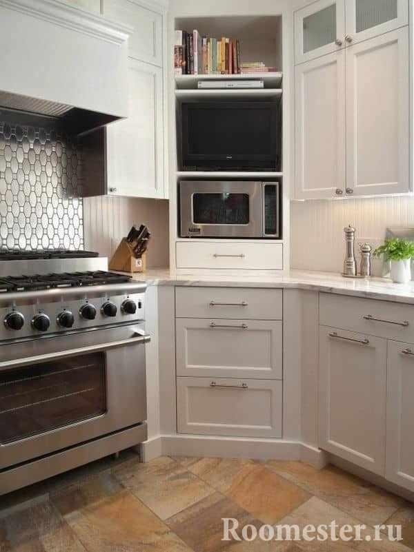 Подсветка рабочей поверхности в угловой кухне