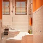 Оранжевый пол в ванной