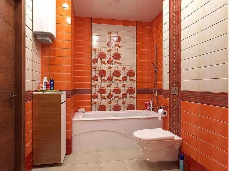 Оранжевая плитка в интерьере малогабаритной ванной