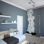 Белый и серый в интерьере комнаты для подростка девочки
