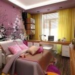 Желтые шторы в розовой комнате