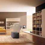 Большая комната для подростка с книжным шкафом