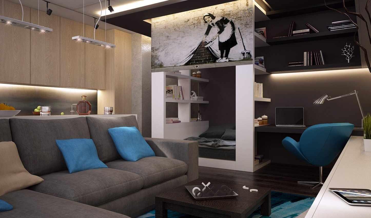 Голубые подушки на сером диване