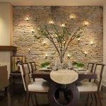 Светильники на каменной стене