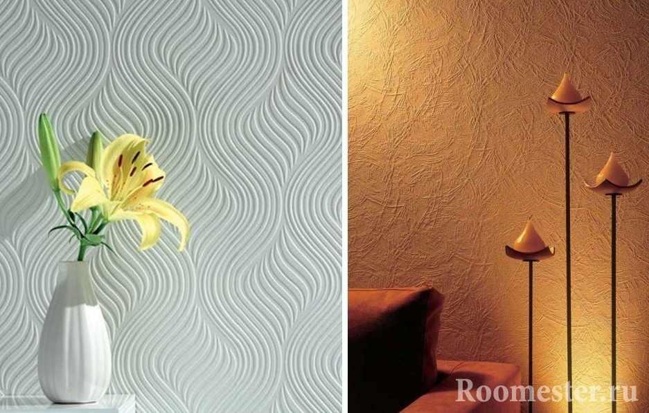 Примеры фактурных обоев на стене