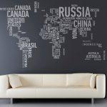 Фотообои с картой мира из названий стран