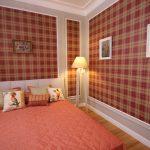Шотландская клетка в интерьере спальне