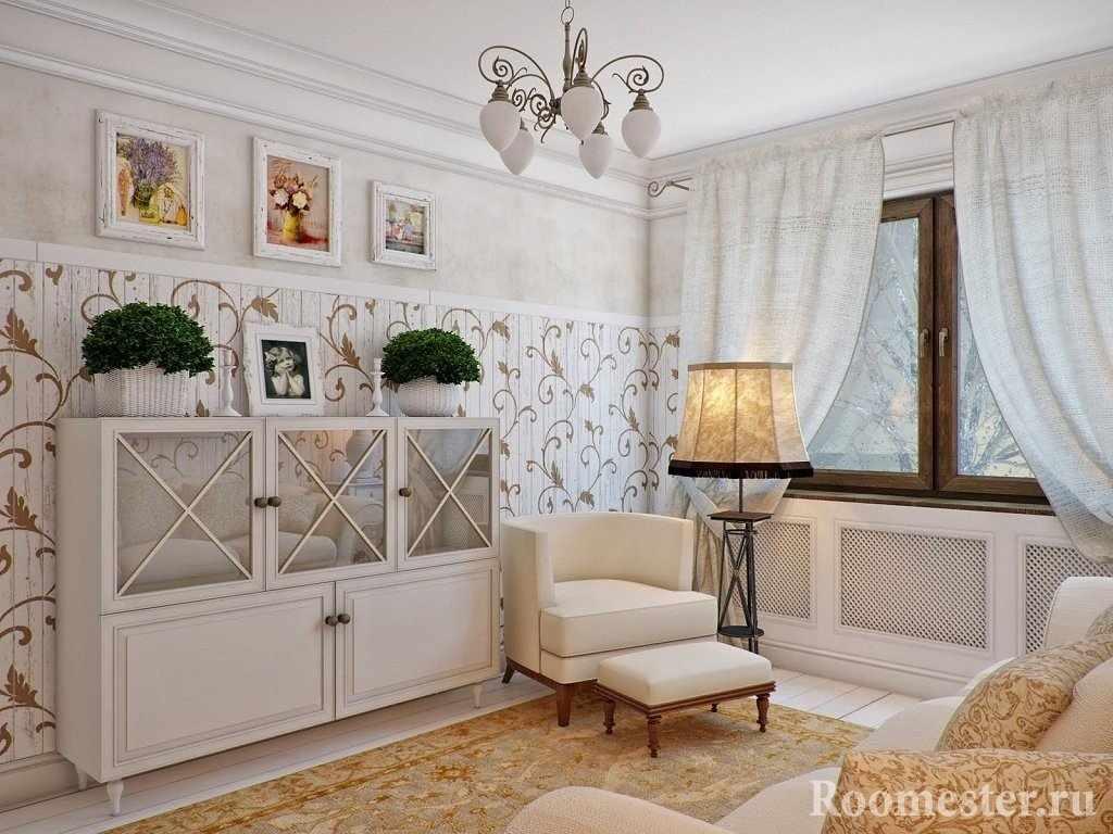 Светлая гостиная с креслом