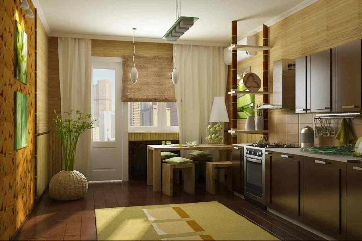 Бамбуковые обои в интерьере кухни