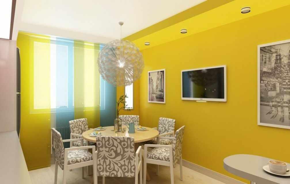 Интерьер кухни с желтыми обоями