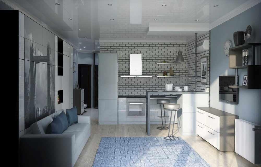 Интерьер однокомнатной квартиры 33 кв м