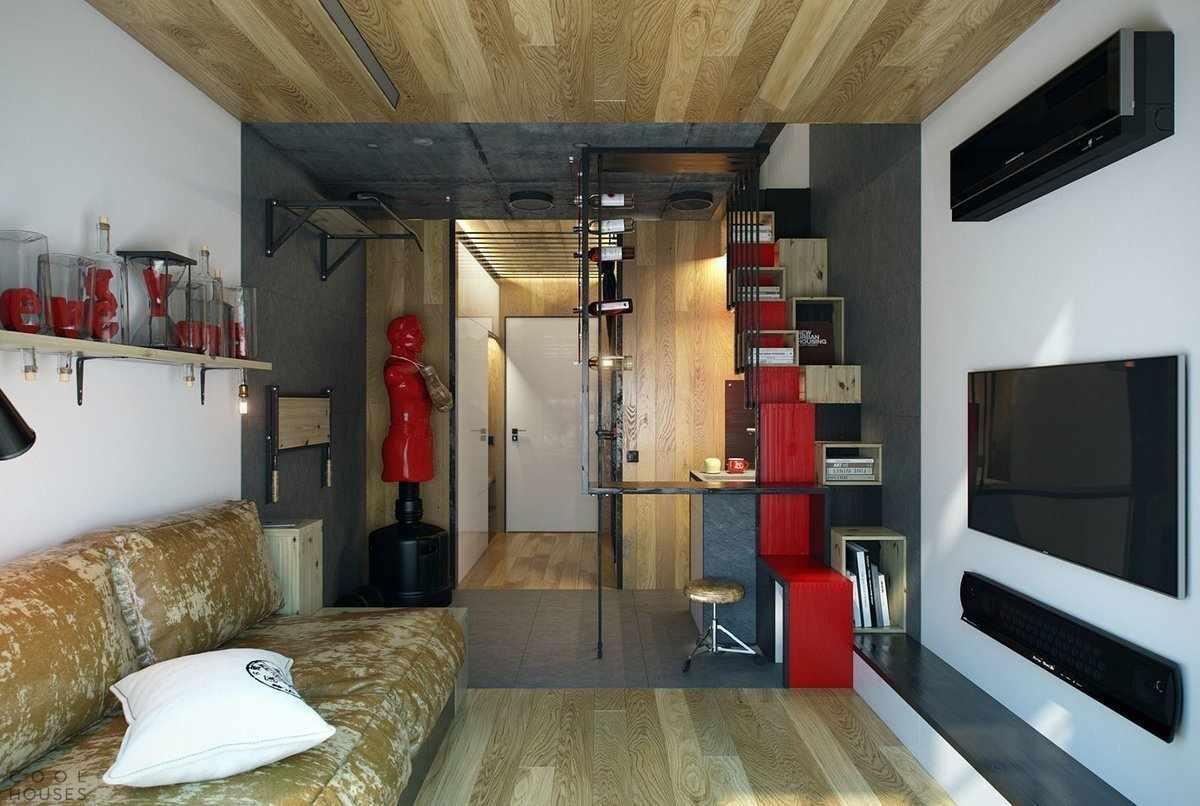 Потолок из дерева в однокомнатной квартире 33 кв м
