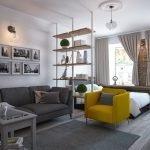 Желтое кресло в гостиной