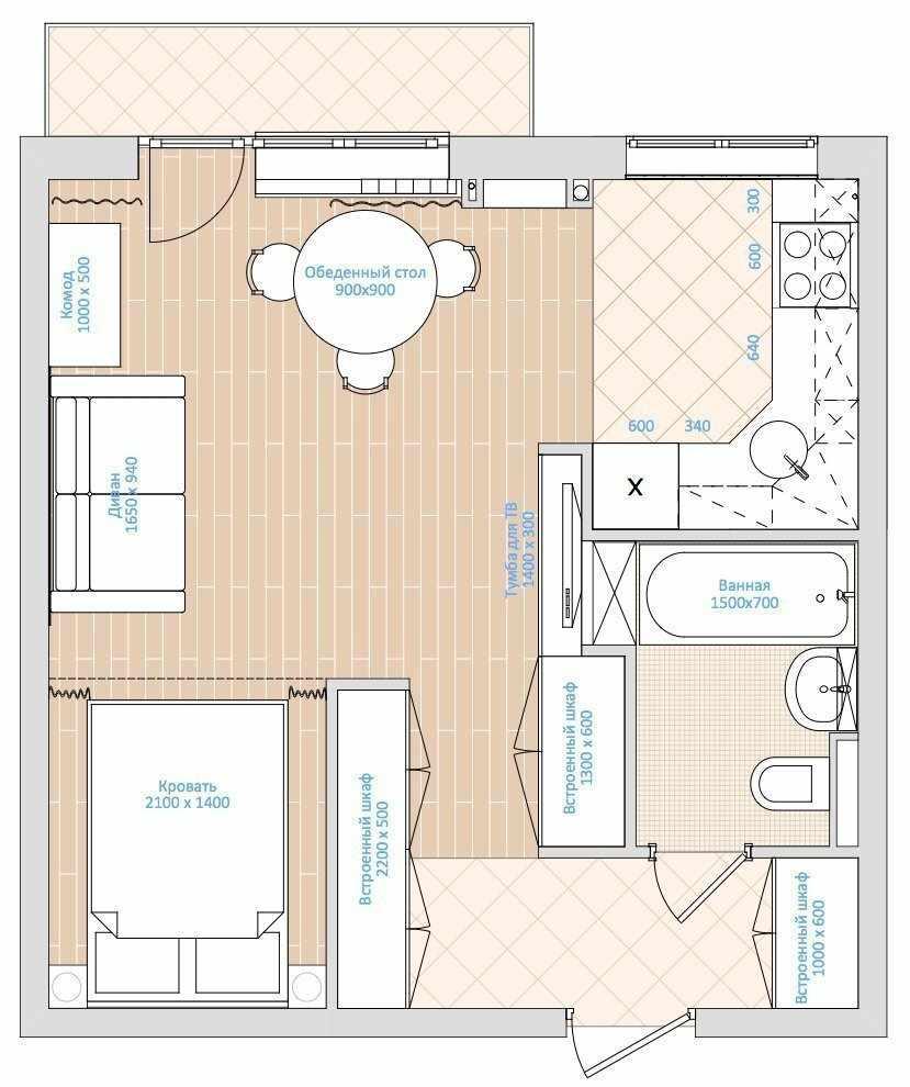 Планировка однокомнатной квартиры 33 кв м