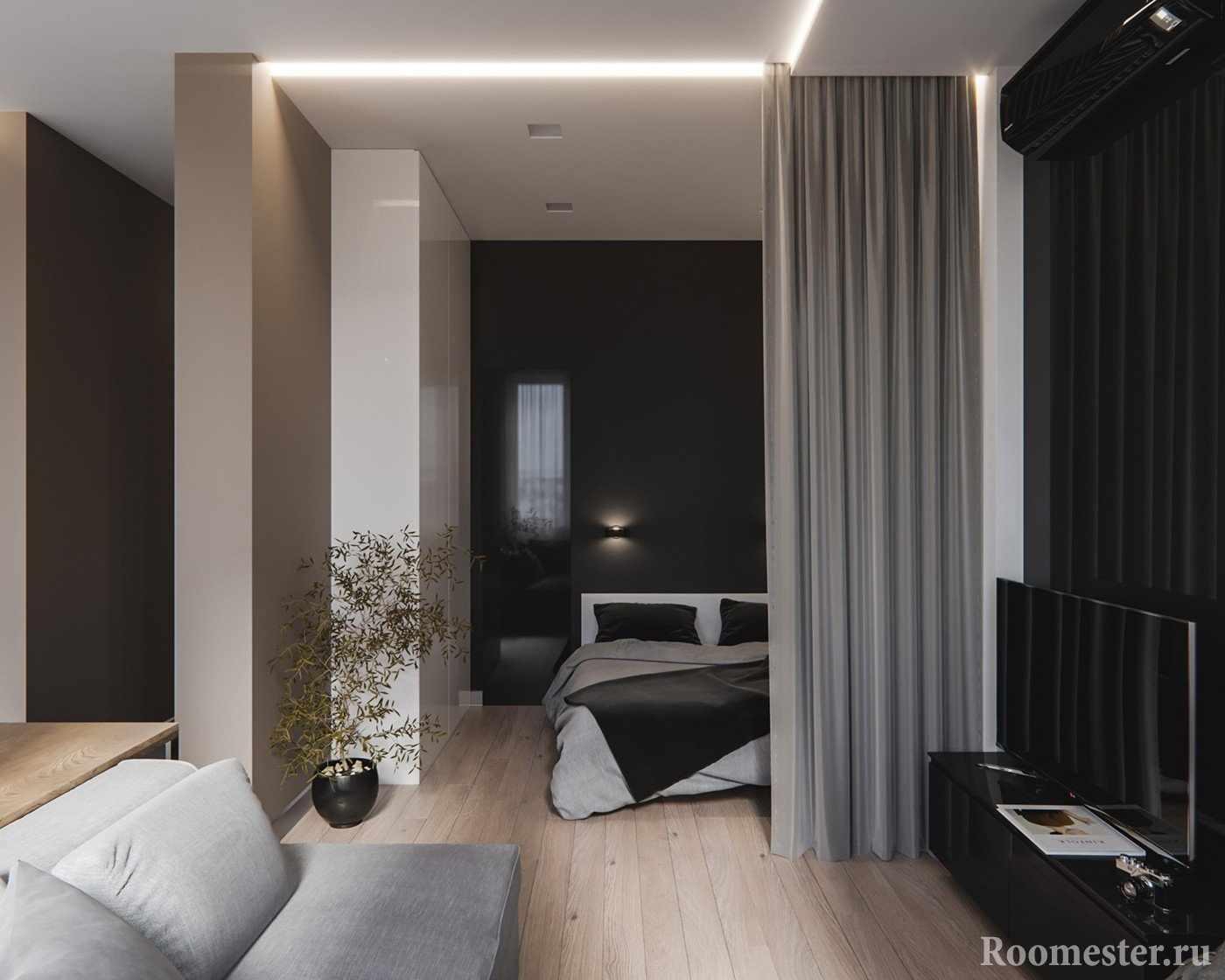 Дизайн-проект квартиры - гостиная и спальное место