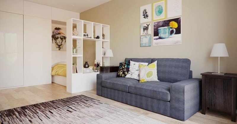 Мебель в интерьере однокомнатной квартиры П44Т