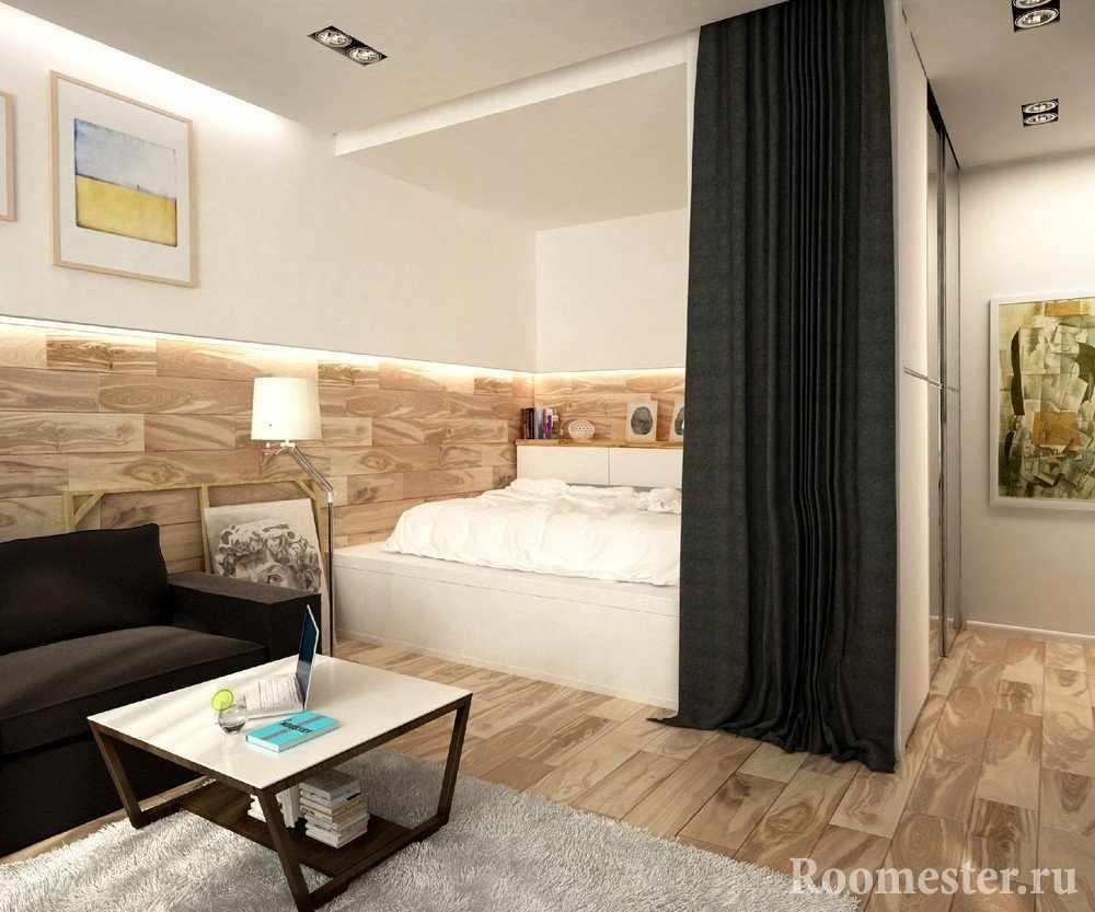 Интерьер комнаты с нишей в однокомнатной квартире