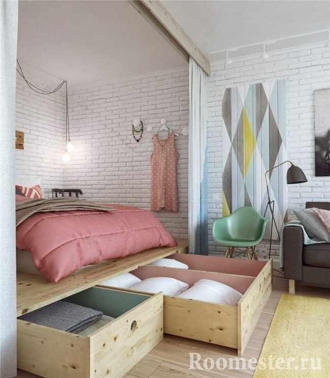 Дизайн однушки с нишей под спальню