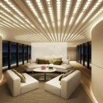 Красивое оформление потолка с помощью необычной подсветки