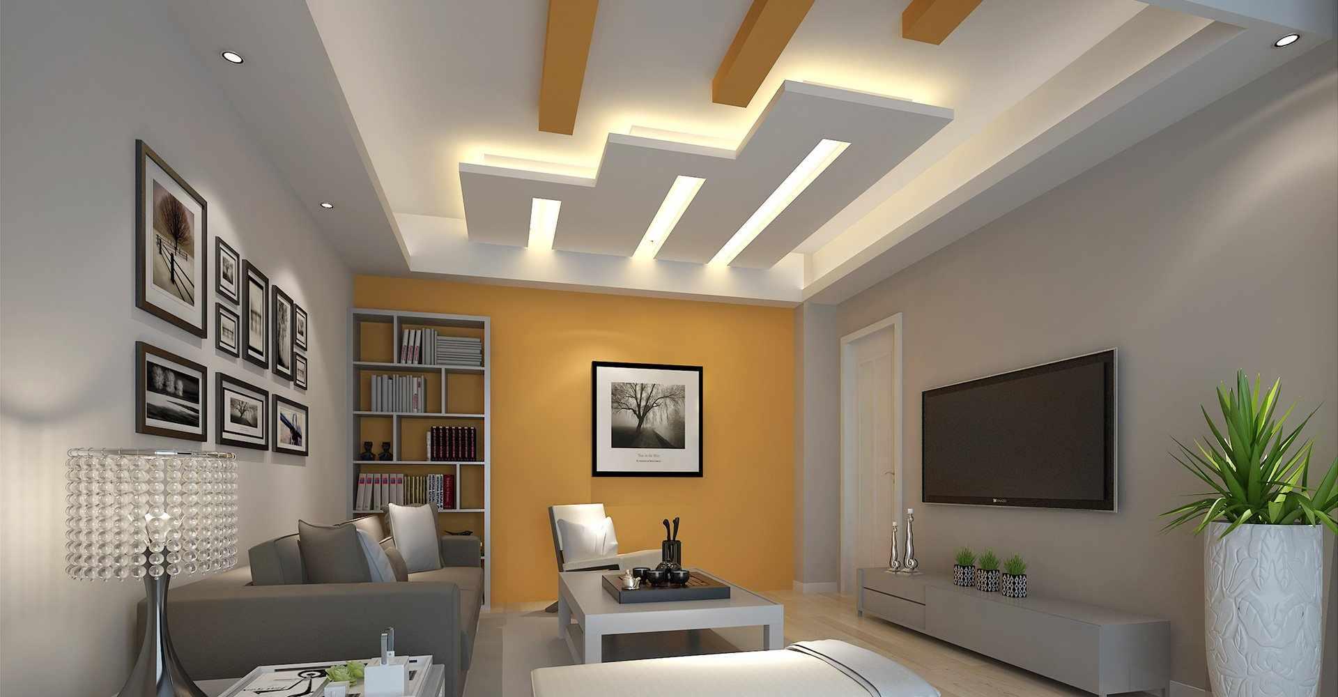Геометрические фигуры в дизайне потолка с подсветкой