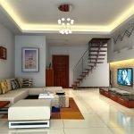 Маршевая лестница в дизайне квартире