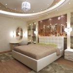 Трехуровневый потолок с точечным освещением