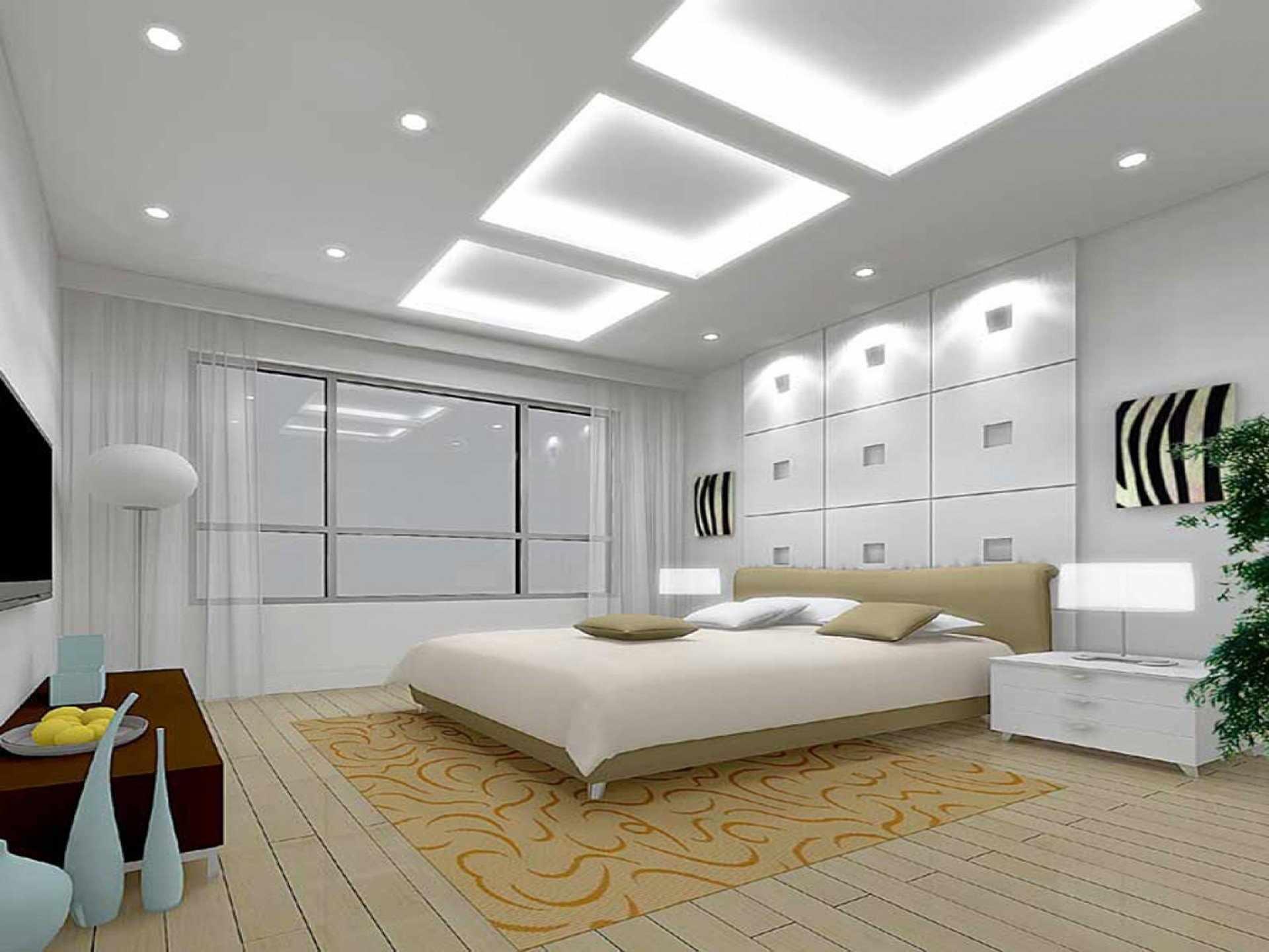 Вариант освещения спальни в белых тонах