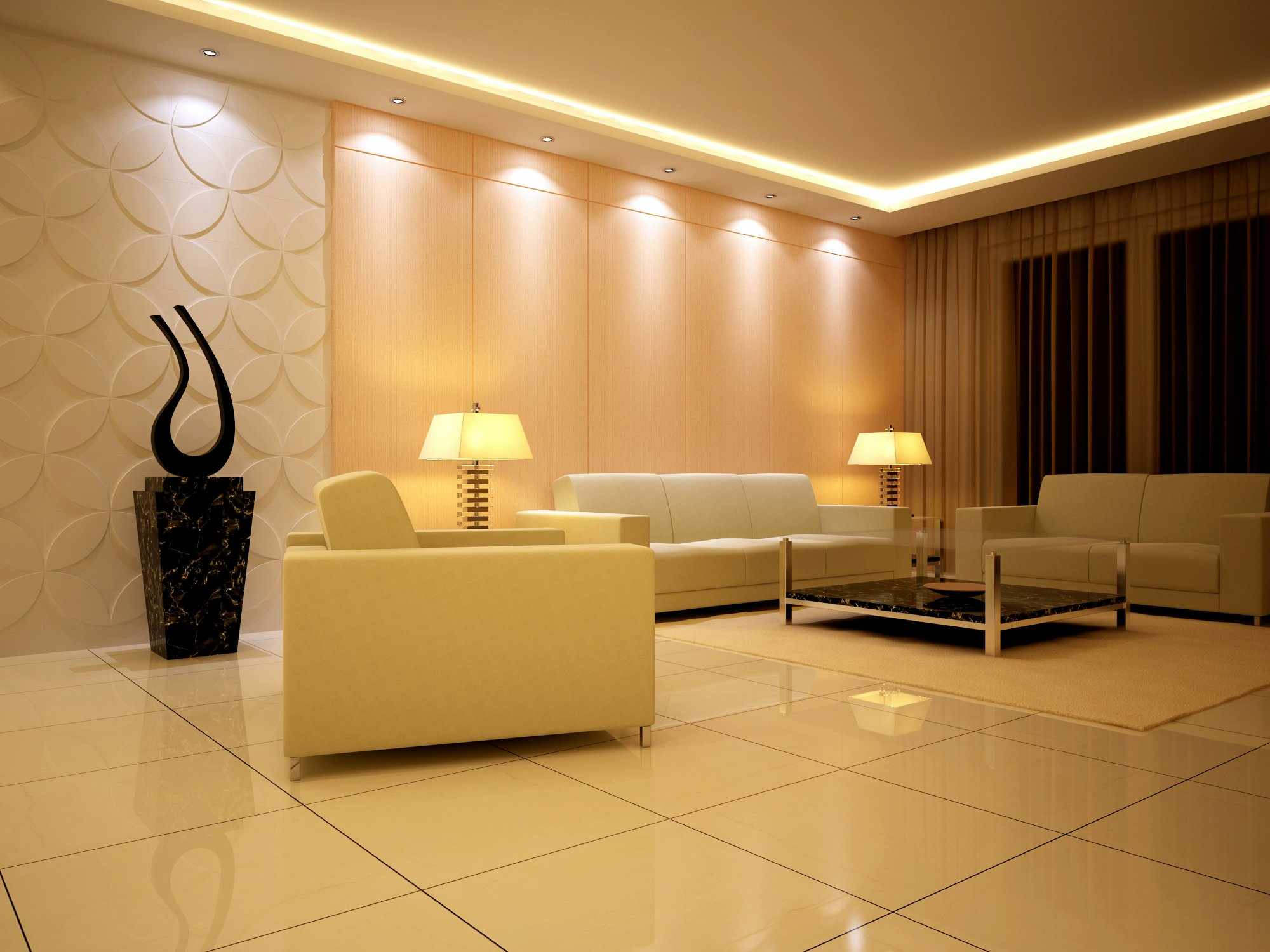 Освещение гостиной в вечернее время