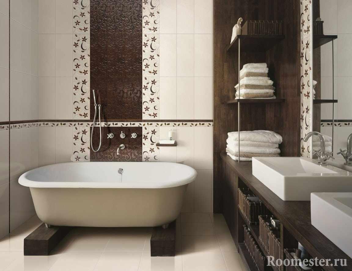Коричневый и бежевый цвета в ванне