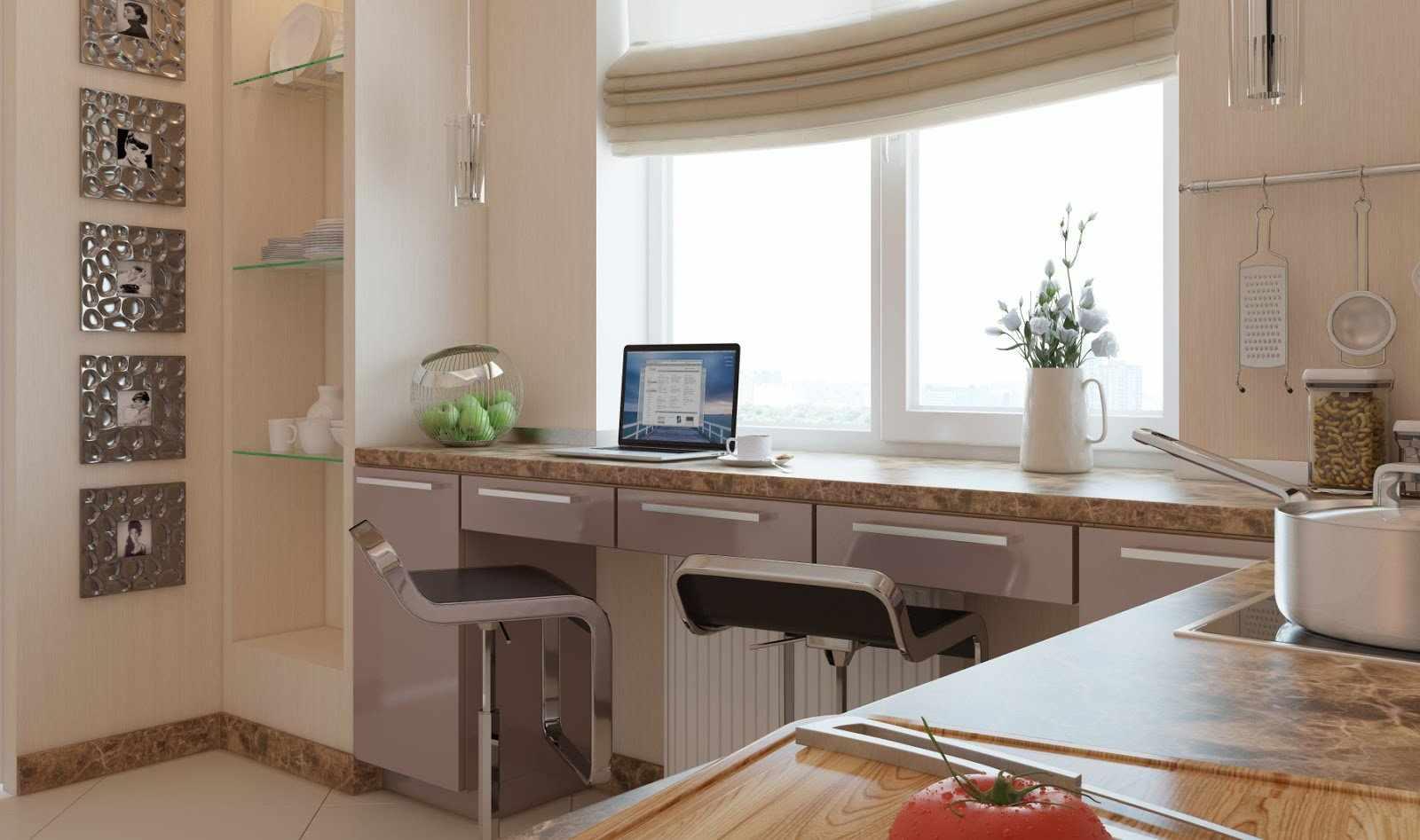 Рабочая зона на кухне, совмещенная с подоконником