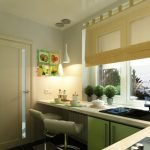 Кухня в зелено-бежевых тонах